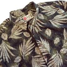 Hilo Hattie's Hawaiian Aloha Shirt Palm Leaves Green Beige Ivory 3X - $34.60
