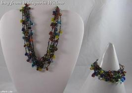Zad Colored Glass Dew Drops Necklace and Bracelet Set - $18.00