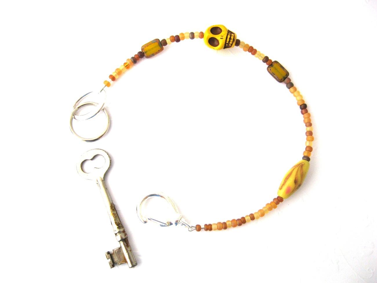 """""""La Calavera"""" Dijon Beaded Key Lanyard Handmade by Chula"""