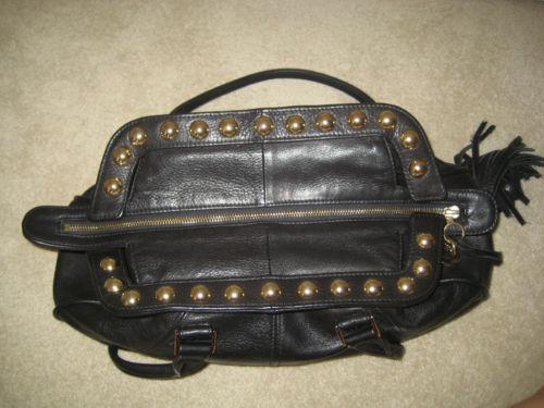 FELIX Ray REY Black Leather Gold Studded Handbag Purse