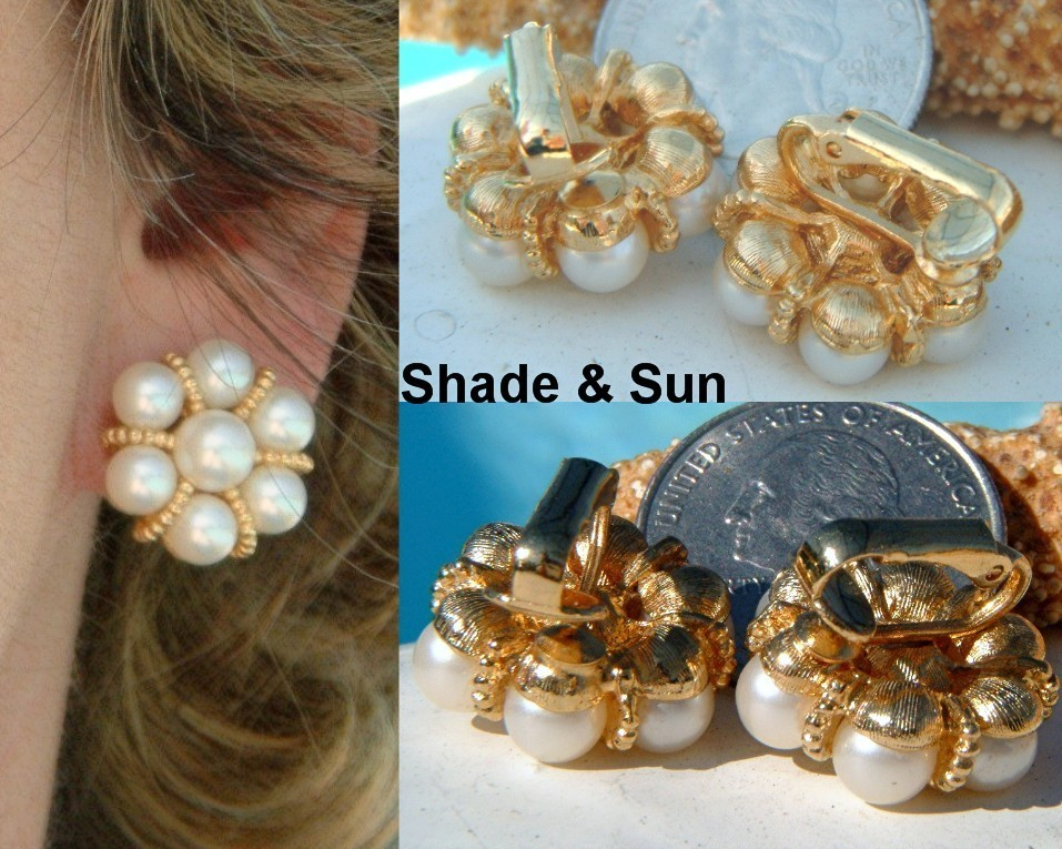 Vintage Earrings Faux Pearl Clusters Gold Tone Round Clips
