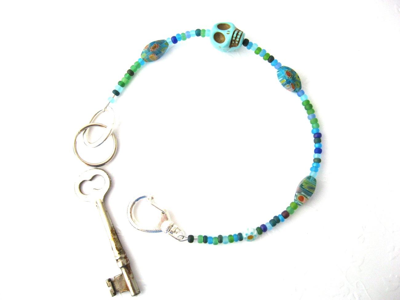 """La Calavera"" Aqua Beaded Key Lanyard Handmade by Chula"