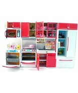 Red Deluxe Modern Barbie Size Kitchen Stove Fridge Micro Wave Etc - $24.99