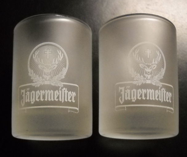 Primary image for Jagermeister Shot Glass Frosted Glass Heavy Base White Stag Print 2cl Set Of Two