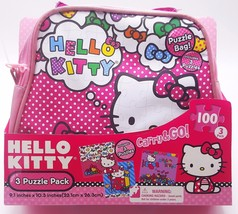 Hello Kitty Girls Puzzle 3 Pack Set with Pink Satin Carry Purse Bag New - $21.59