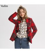 Vadim women plaid notched collar tweed blazer double breasted pockets tassel - $49.99