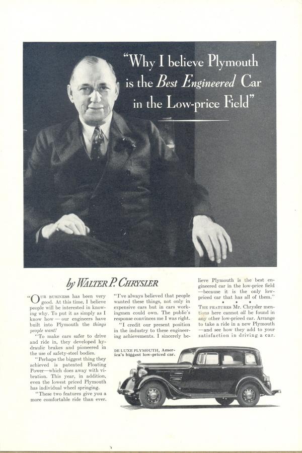 1934 De Luxe Plymouth Walter P  Chrysler and 14 similar items