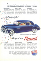 1949 Chrysler Plymouth special de luxe sedan print ad - $10.00
