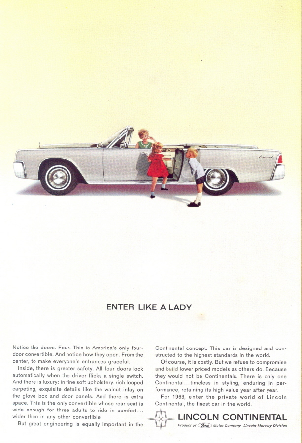 1963 convertable Lincoln Continental childrens print ad