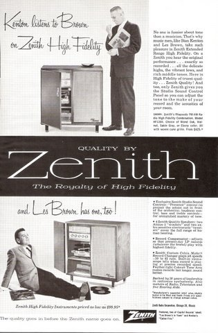 1957 Zenith Phonograph Stan Kenton Les Brown print ad