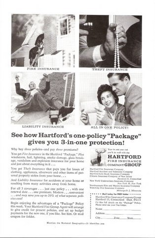 1957 Hartford Fire Insurance Co Safety Policy print ad
