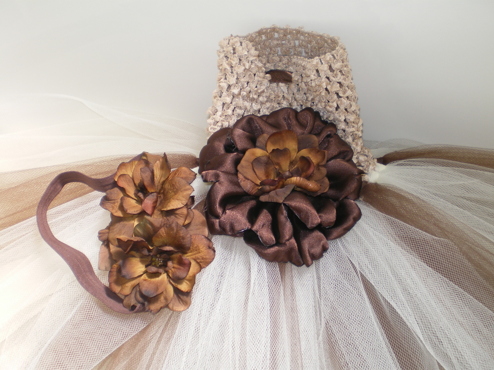 BABY GIRL  LONG BROWN TUTU PHOTO PROP DRESS WITH MATCHING HEADBAND