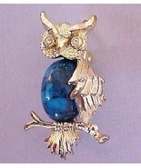 Vintage GERRY Owl Pin w faux turquoise - $6.95