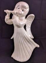 Angel Child Playing Flute Pearl Iridescent White Ceramic Figurine Statue... - $14.03