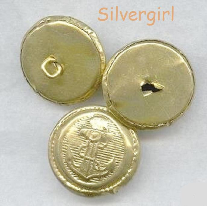 Gold color metal shank anchor buttons