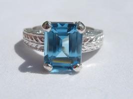 4.15 Carat Medium Blue Topaz Ring Sterling Silver .925 Emeral Cut Engrav... - £99.75 GBP