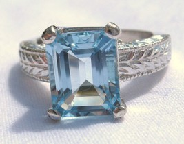 4.23 Carat Light Blue Topaz Ring Sterling Silver .925 Emeral Cut Engrave... - £107.42 GBP