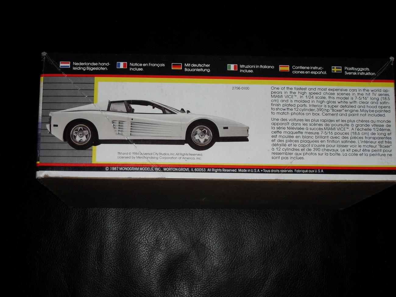 1987 Monogram Model Kit Miami Vice Ferrari Testarossa