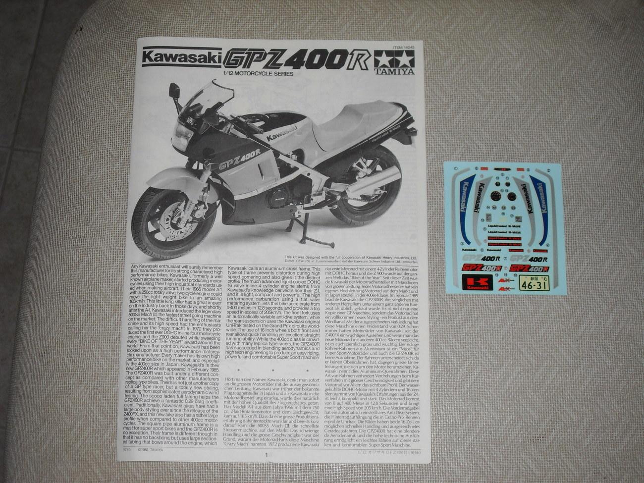 1985 Tamiya Model Kit Kawasaki GPZ400R   1/12 Scale