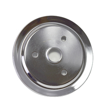 CHEVY SMALL BLOCK SINGLE-GROOVE STEEL SHORT WATER PUMP CRANKSHAFT PULLEY CHROME image 7