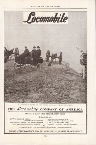 1901 Locomobile Surrey Lookout Mountain Tenn print ad