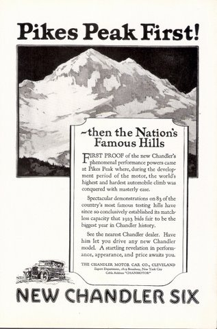 1923 New Chandler Six automobile Pikes Peak print ad