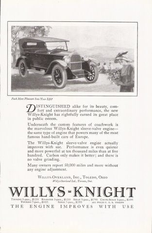 1923 Willys Knight automobile vintage magazine print ad