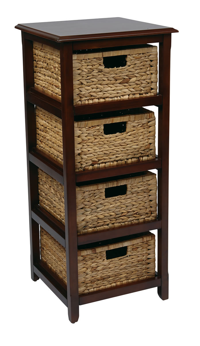 4 drawer espresso or white wood storage tower w baskets for White end table with storage