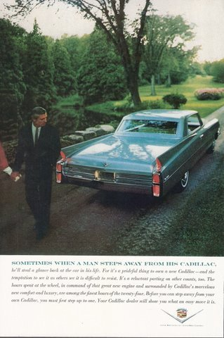 1963 Cadillac Blue Coupe steal a glance back print ad