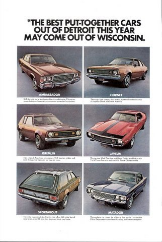 1972 Six different American Motors Automobiles print ad