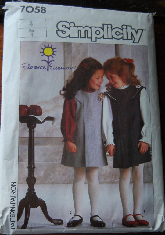 Pattern 7058 Girls sz 4 Jumper and Blouse 1985