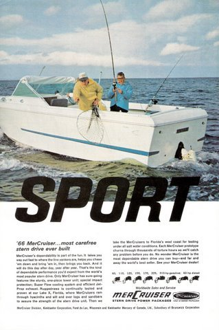 1966 Mercruiser stern drive power packages print ad