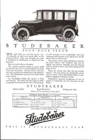 1923 Studebaker Four-Door Sedan price table print ad