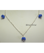 Blue & Black Lamp Work Sterling Silver Chain Necklace - $40.99