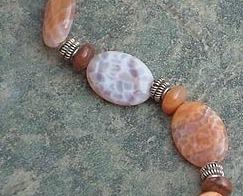 Turtleshell Jasper, Fire Agate Gemstones & Sterling Silver Bracelet