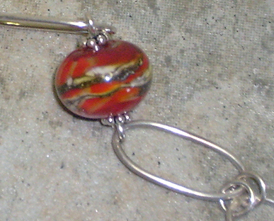 Red-Orange, Ivory & Silver Lamp Work Argentium Sterling Silver Bracelet