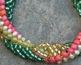 Woven Freshwater Pearl & Seed Bead Spiral Bracelet Gold Fill
