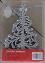 Nice NEW IN THE BOX Set of 10 Tree Glitter Ornaments, NEW IN BOX - $5.93