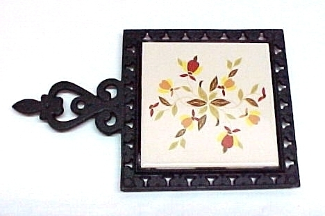 Autumn Leaf China Tea Tile Trivet Jewel T Cast Iron New