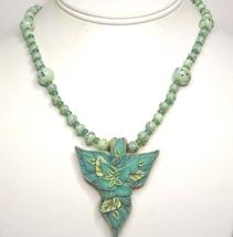 Green Leaf Polymer & Green Art Glass Necklace - $57.99