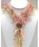 Pink, Peach, Cream & Green Fiber, Bead & Lamp Work Necklace - $52.99