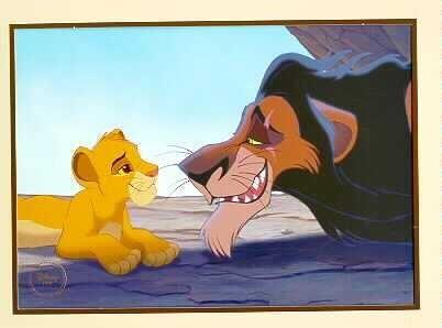 Disney Lion King Gold Seal Uncle Scar Simba  Lithograph
