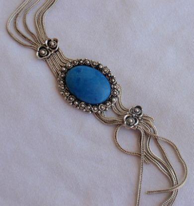 Oriental blue agate necklace