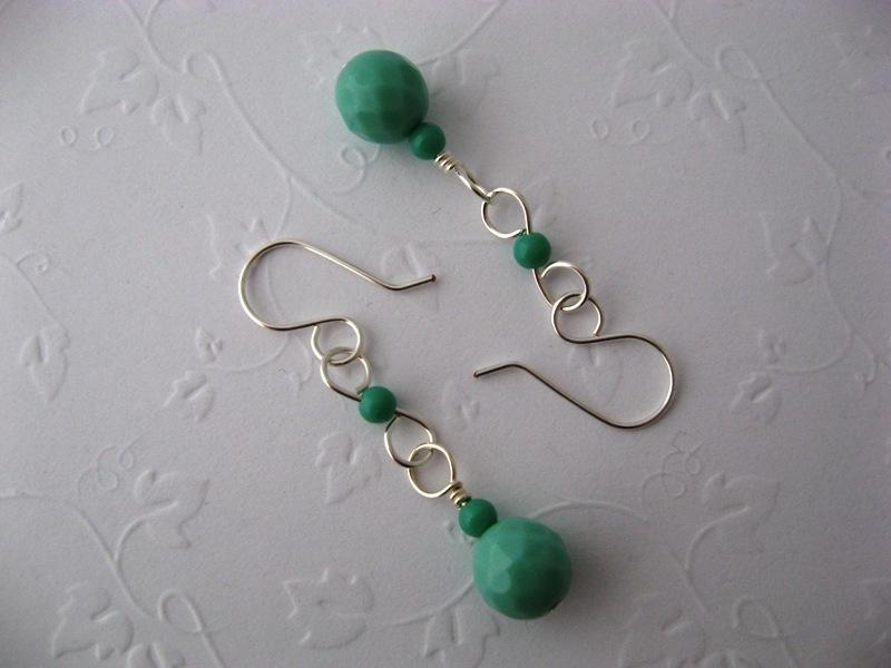 Vespa Girl Mint Glass Earrings Handmade by Chula
