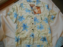 Ladies Caribbean Joe Shirt Blouse Blue flowers Island Breeze Guache Lily... - $14.67