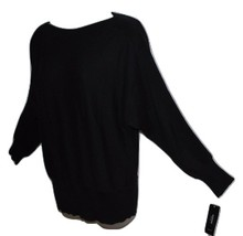 Alfani Women's Pullover Black Sweater Dolman Sleeve with Ribbed Panel PL - $15.00