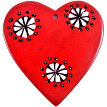 Tabaka Chigware Hand Carved Kisii Soapstone Red & Black Heart Stone Ornament image 2