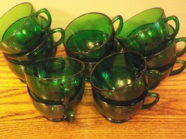 Vintage Emerald Green Coffee or Punch Cups Lot of 14 Anchor Hocking - $41.16