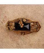 Antique black mourning pin - Estate jewelry - Victorian black brooch - v... - $95.00