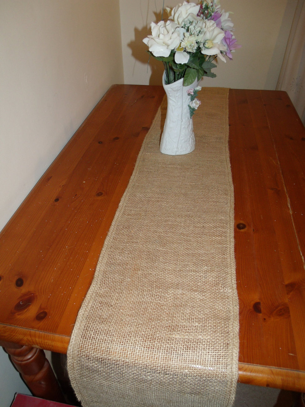 Rustic burlap wedding table runner free shipping 12 72 for Table runners 52 inches